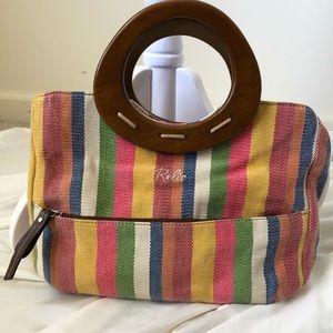 Rainbow stripe canvas Relic handbag